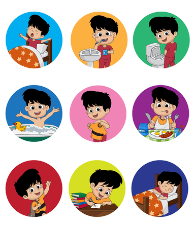 Zestaw codziennie cute boy.Boy budzenia, szczotkowanie zębów, kid pee, biorąc kąpiel, ubrani w górę, śniadanie, kid nauki, kid sleep.vector i ilustracji. Ilustracje wektorowe