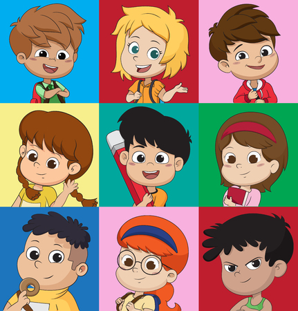 set of kids avatars cute cartoon boys and girls faces with various
