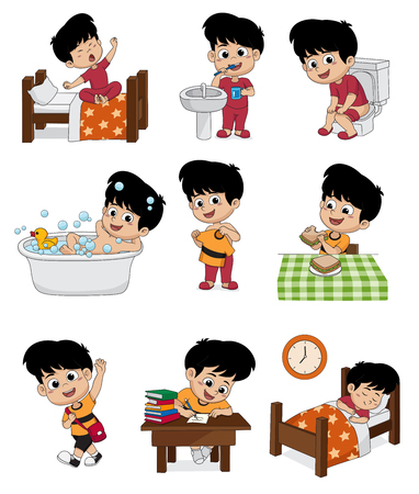 Set of daily cute boy.Boy wake up,brushing teeth,kid pee,taking a bath,dressed up,breakfast,kid learning,kid sleep.vector and illustration.