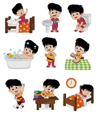 Conjunto de garotos cotidianos. Confira, escove os dentes, faz xixi, toma um banho, aprende-se, faz café da manhã, aprende o menino, aprende o menino e a ilustração. Ilustración de vector