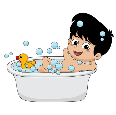 In a morning, kid shower to get ready for school.vector and illustration.