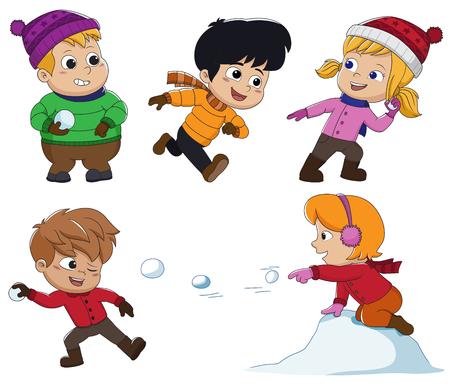 겨울에는 아이들이 눈에서 아주 즐겁게 놀 수 있습니다. 벡터 일러스트 레이션. 일러스트