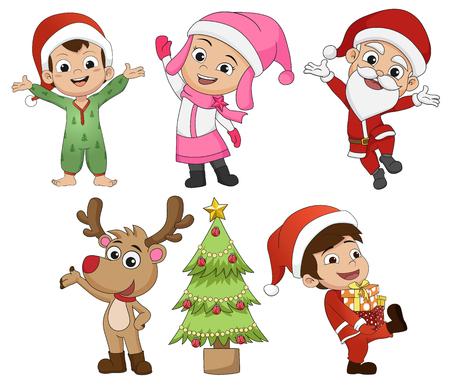 크리스마스 휴일에서 귀여운 아이의 집합입니다. 벡터 일러스트 레이 션.