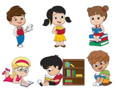 책을 읽고 아이의 집합입니다. 벡터 및 그림입니다.