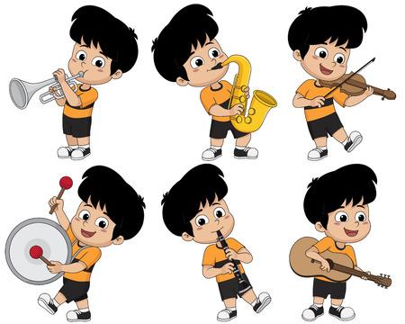 트럼펫, 색소폰, 바이올린, 드럼, 클라리넷 및 기타와 같은 악기를 연주 아이. 벡터 일러스트 레이 션.