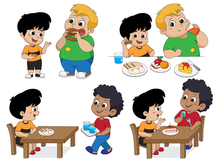 Set of Kid eating delicious food with friends.Vector and illustration. Ilustrace