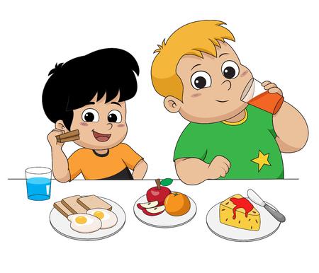 먹고 친구와 이야기 아이입니다. 벡터 및 그림입니다.