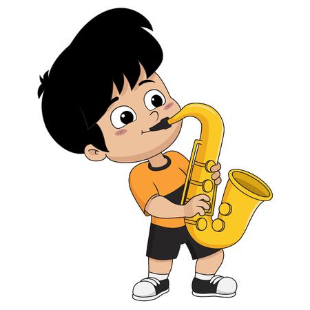 Bambino che gioca saxophone.Vector e illustrazione. Archivio Fotografico - 91792896