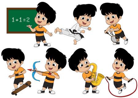 아이 활동, 클래스에서 수학적 배운 아이 태권도, 재생 배드민턴, 스케이트 보드 재생, 색소폰 연주, rope.vector 및 그림 점프 활 재생.