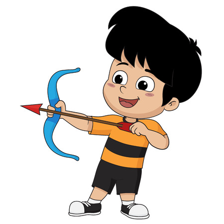 Kid is engaged in a sports archery.vector and illustration.