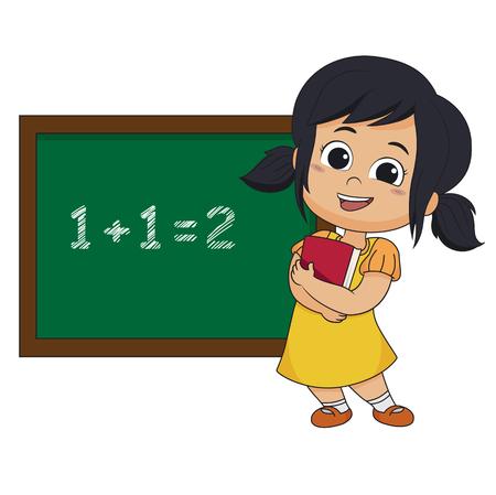 아이 클래스 벡터 일러스트 레이 션에 수학 학습. 일러스트