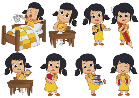 Set of kid activity, kid think, wake up, holding a big pencil, eat sandwich, holding a book vector illustration.