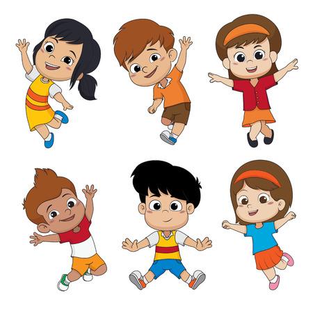 공기 벡터 일러스트 레이 션에 점프하는 어린이의 집합입니다.