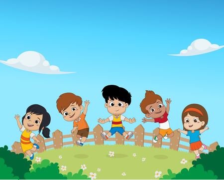 Group of kids jumping in the air together vector illustration.