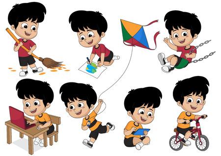 Conjunto de actividad infantil, niño barriendo una hoja, pintando una imagen, jugando en el columpio, jugando una computadora, montando una bicicleta, jugando un vector de cometa e ilustración. Ilustración de vector