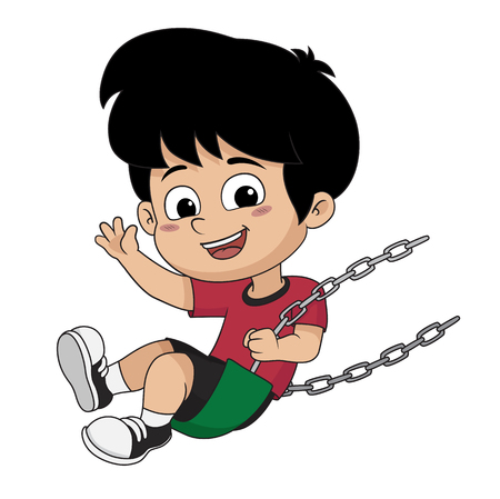 Kid on swing vector and illustration.