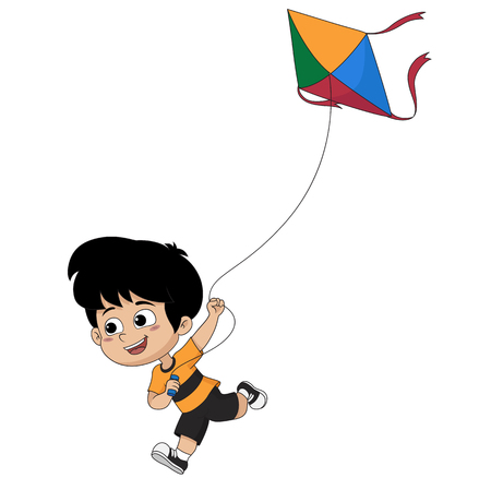 Kid playing a kite vector and illustration.