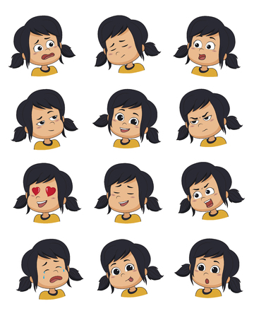 Set of Little girl face expression,vector illustrations isolated on white background. Illustration