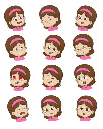 Set of Little girl face expression,vector illustrations isolated on white background. 일러스트