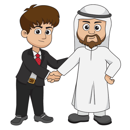 European and muslim businessman shake hands.Vector and illustration.