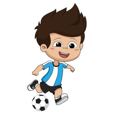 Kid schopt een bal. Vector en illustratie. Vector Illustratie
