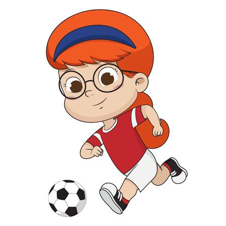 Kid kicks a ball.Vector and illustration. 일러스트