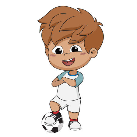 Kid stand with ball.Vector and illustration.
