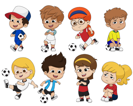 Cartoon soccer kid with different pose.Vector and illustration.