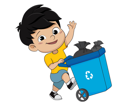 Kid gathering garbage and plastic waste for recycling.vector and illustration.