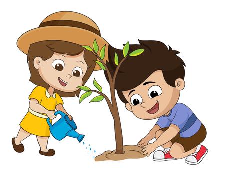 Niño plantando un tree.vector e ilustración.