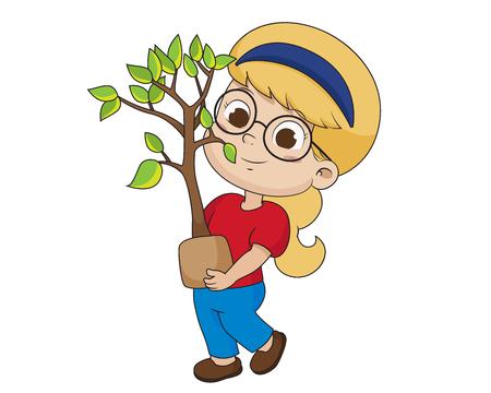 Kid plantant un tree.vector et illustration. Vecteurs