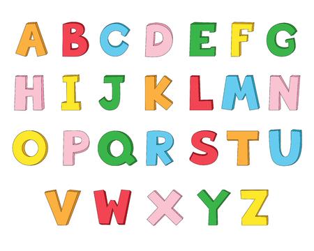 Lets learn the English alphabet. 일러스트