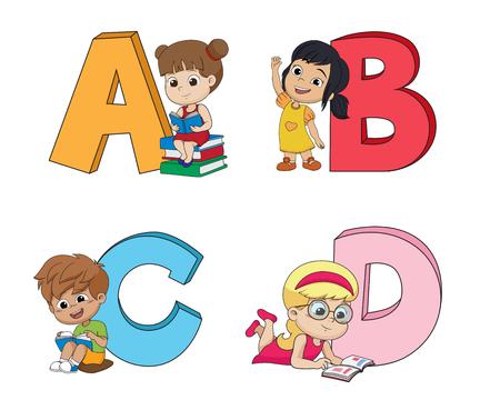 Children learn the English alphabet 일러스트