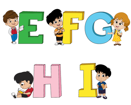 Children learn the English alphabet.