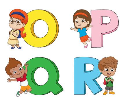 Children learn the English alphabet.