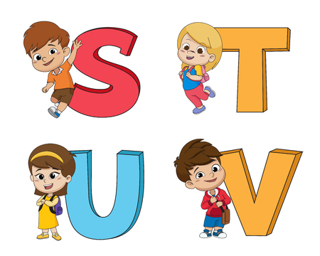 Children learn the English alphabet.Vector and illustration.