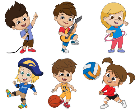 Set of kid activity,kid sings a song,playing a guitar,playing hoop,playing roller skates,playing a basketball,playing volleyball.vector and illustration. 일러스트