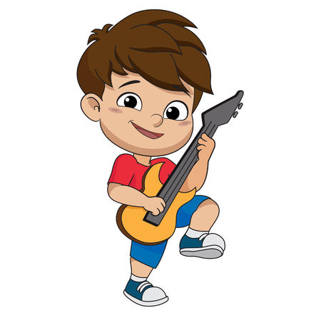Kid playing guitar.vector and illustration. Illustration