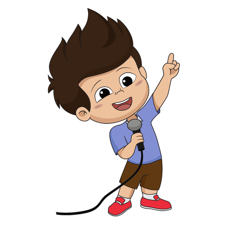 Kid sing a song.vector and illustration.