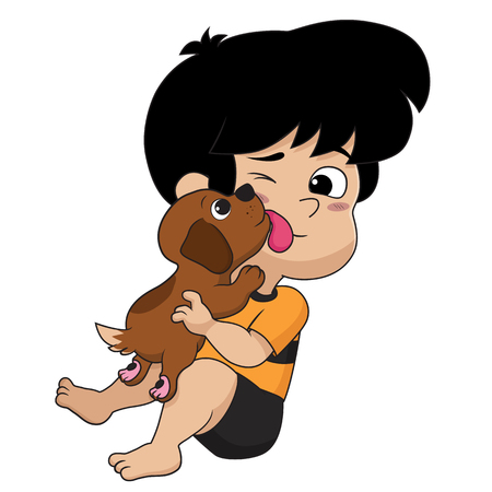 The child was playing with his good friend, that is the dog.Vector and illustration.