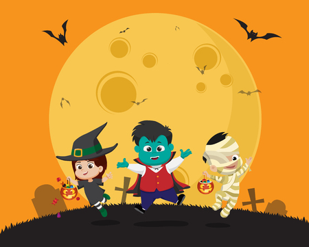 Happy halloween.Kid dress up Halloween party and jumping in the air.Vector and illustration.