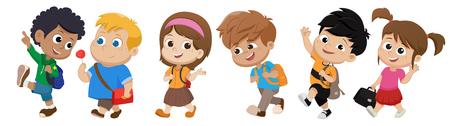 Kind zu Fuß zur Schule. Zurück zur Schule. Vektor und Illustration.