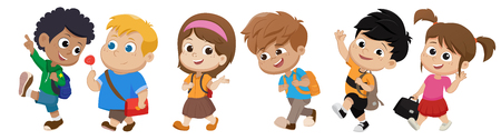 niño caminando a la escuela. de regreso a la escuela. Vector e ilustración.