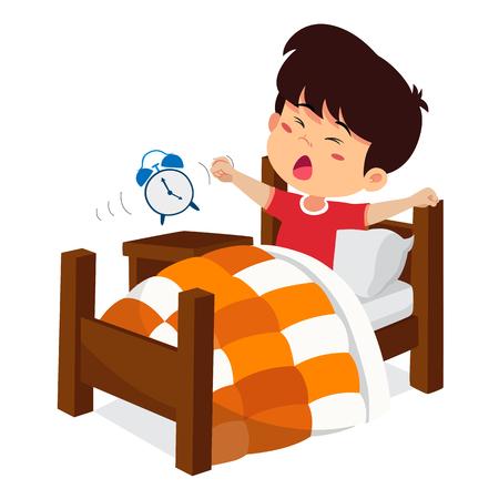 Niño se despierta por la mañana. Vector e ilustración. Ilustración de vector