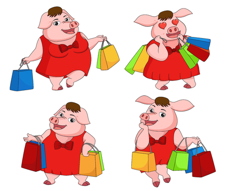 Girl pig shopping in New year day.Vector and illustration.
