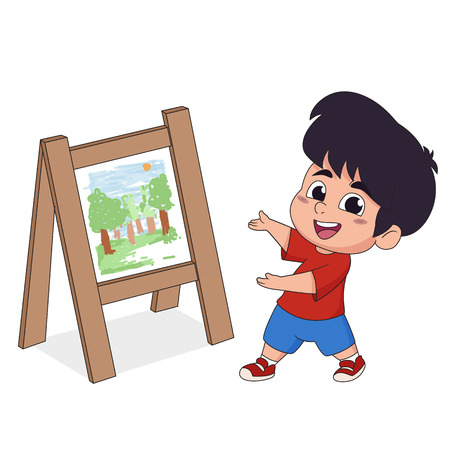 In class the children are drawing on paper in the imagination of both wood and watercolor.Vector and illustration.