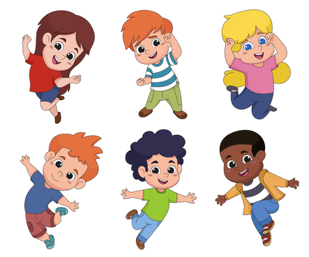 Set of kids jumping in the air.Vector and illustration.