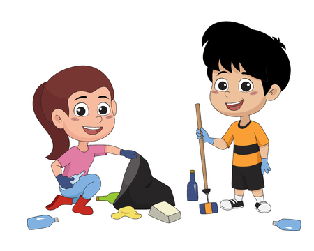 Children spend time on the weekend to garbage.vector and illustration. Ilustração