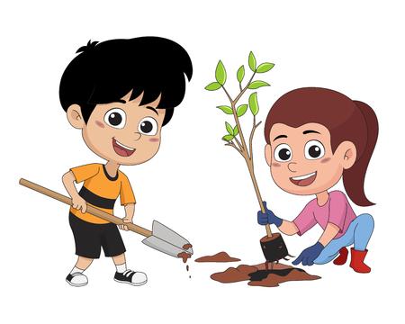 niño plantando un tree.vector e ilustración. Ilustración de vector