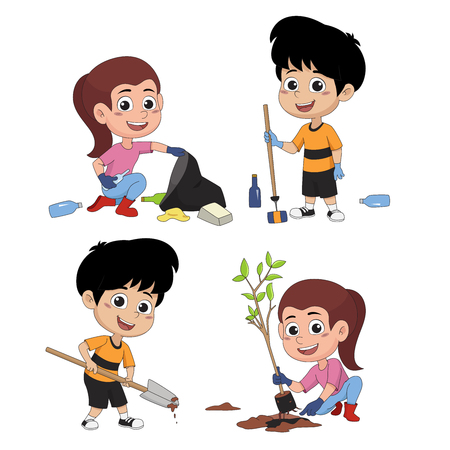kid help save the world by collecting plastic bottles recycled, garbage drops into the bin and plant trees.vector and illustration.